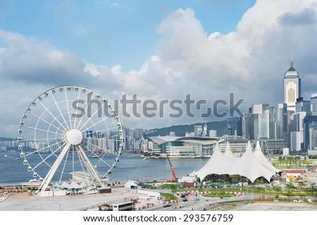 Ferris Wheel in Hong Kong City - stock photo