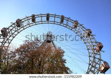 Ferris wheel in Prater park in Vienna, Austria - stock photo