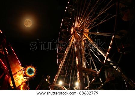 ferris wheel in the night - stock photo