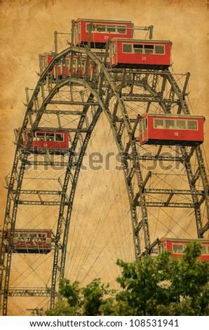 Ferris Wheel in Vienna Austria - Vintage photograph - stock photo
