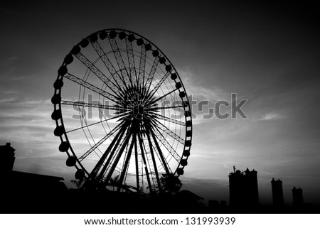 Ferris wheel Sunset. - stock photo