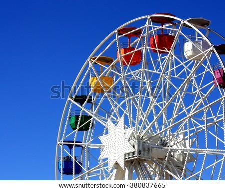 Ferrish-wheel in the Amusement Park on Mount Tibidabo in Barcelo - stock photo