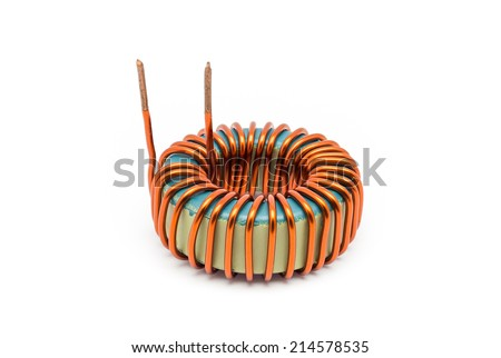 Ferrite Torroid Inductor for Switching Power Supply. - stock photo