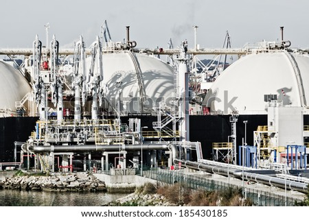 Ferrol, Spain - March 6th, 2014 petrochemical plant detail heavy industry in Ferrol.