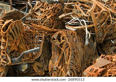 Ferrous recycling scrap metal - stock photo