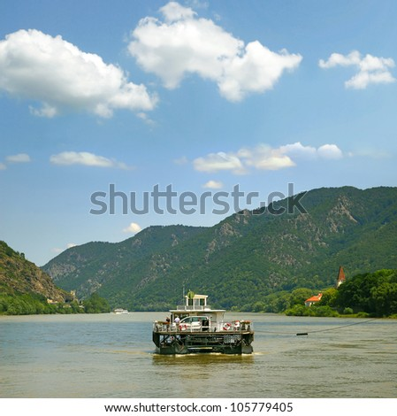 Ferry across the River Danube, Spitz, Wachau Valley - UNESCO World Heritage Site, Lower Austria - stock photo