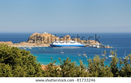 Ferry at harbour of Ile Rousse - Corsica - France - stock photo