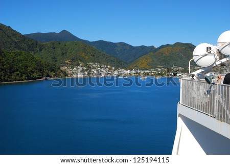 Ferry between north and south island in New Zealand, sailing into Picton - stock photo