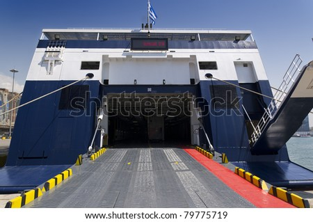 Ferry boat prepares to leave - stock photo
