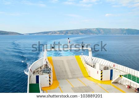 Ferry Boat Ship on the Adriatic Sea - stock photo