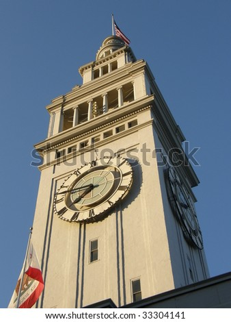 Ferry Building Marketplace Clock Tower in San Francisco, California