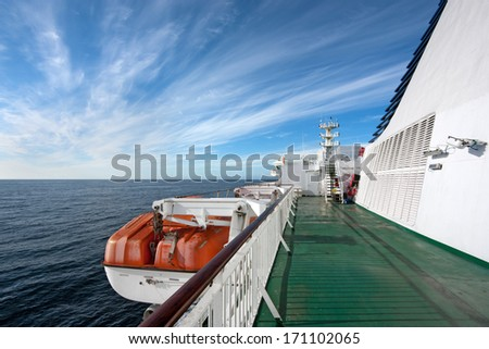 Ferry deck with lifeboat . Empty deck of the ferry connecting Streymoy and Suduroy, Faroe Islands - stock photo
