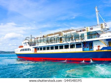 Ferry docked in Poros island in Greece - stock photo