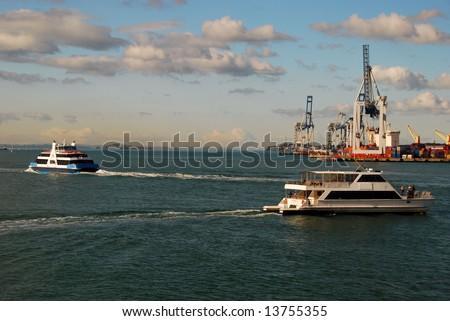 ferry in Auckland harbor, New Zealand - stock photo