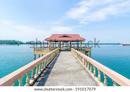Ferry Jetty at Bernas Beach, Malaysia - stock photo
