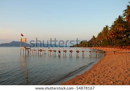 Ferry Jetty at Rabbit Island, Cambodia - stock photo