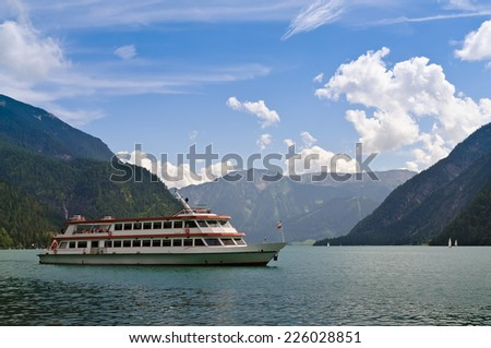 Ferry on Achensee, a mountain lake in Tirol, Austria