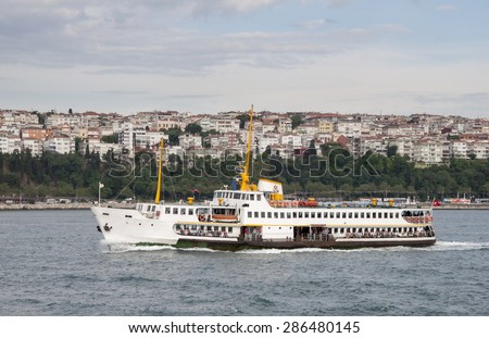 Ferry on Istanbul Bosphorus. Istanbul, Turkey.  - stock photo