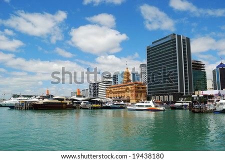 ferry sailing out auckland harbor, new zealand - stock photo