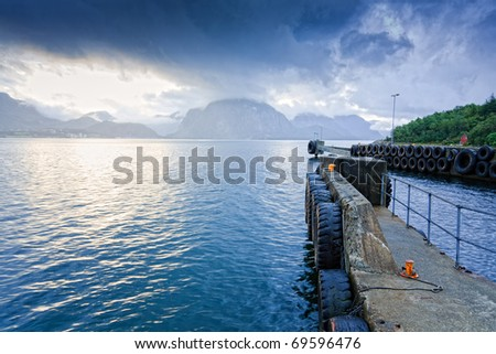 Ferry station - stock photo