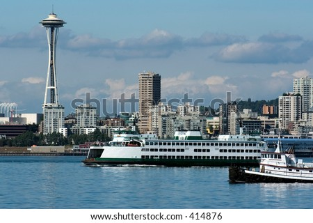 Ferry to Olympic - stock photo