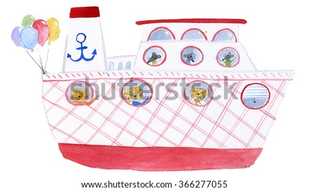Ferry Watercolor Illustration - stock photo