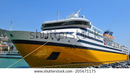 Ferryboat anchored in the port of Nice, France - stock photo