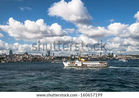 Ferryboat in Istanbul Turkey transporting people - stock photo