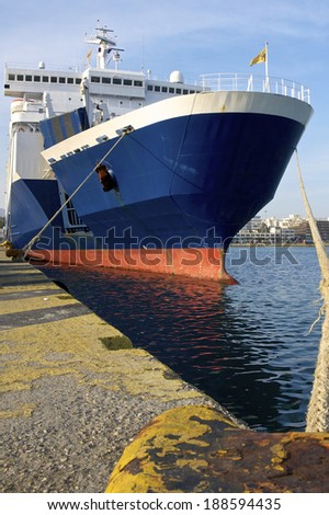 Ferryboat in the harbor of Piraeus to Heraklion. The Port of Piraeus, as the largest Greek seaport, is one of the largest seaports in the Mediterranean Sea - stock photo