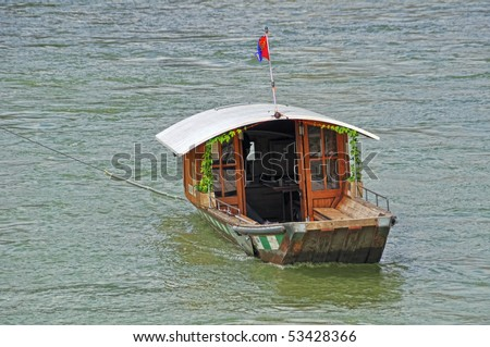 Ferryboat on the River Rhine,Basel,Switzerland - stock photo