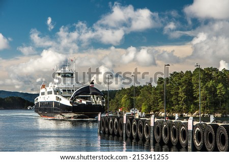 Ferryboat on the way from Bergen to Stavanger - stock photo