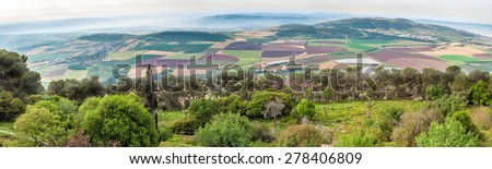 Fertile valley in northern Israel. - stock photo