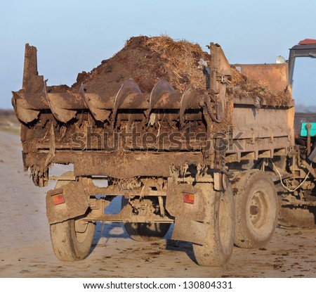 Fertilizer, cow dung at tractor trail with auger - stock photo