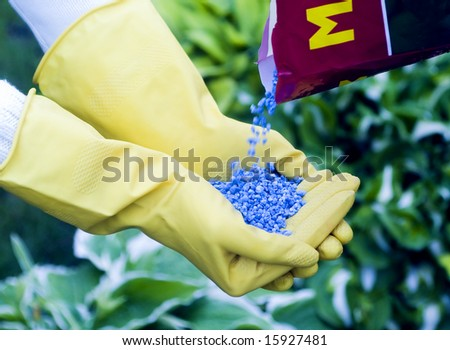 Fertilizer to pour in hands - stock photo