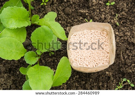 fertilizer white granules in a plastic can  - stock photo