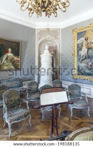 "FERTOD, HUNGARY - JUNE 9 Interior of the Esterhazy Castle as on June 9, 2014 in Fertod. Built in the 18. cent. sometimes called the ""Hungarian Versailles"", it is Hungary's grandest Rococo edifice."