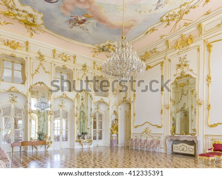 """FERTOD, HUNGARY - JUNE 9 Interior of the Eszterhazy Castle as on June 9, 2014 in Fertod. Built in the 18. cent. sometimes called the """"Hungarian Versailles"""", it is Hungary's grandest Rococo edifice. - stock photo"""