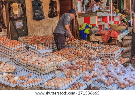 Fes, Morocco - May 11, 2013: Chicken eggs at the souk, Moroccan market in the medina - stock photo