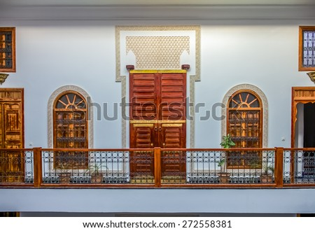 Fes, Morocco - May 11, 2013: Inner courtyard in a moroccan riad - stock photo