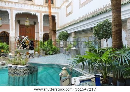 FES, MOROCCO - OCTOBER 27, 2015: Traditional riad interior in Fes El Bali medina, Morocco, Africa - stock photo