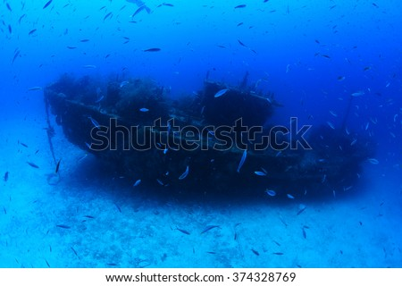 Fesdu shipwreck in the indian ocean - stock photo
