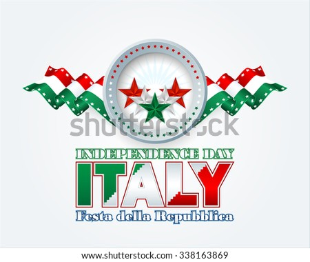 Festa della Repubblica translated from Italian language as Republic Day; Independence Day background with green, white and red stars and national flag colors for Italian Independence Day/Republic Day - stock photo