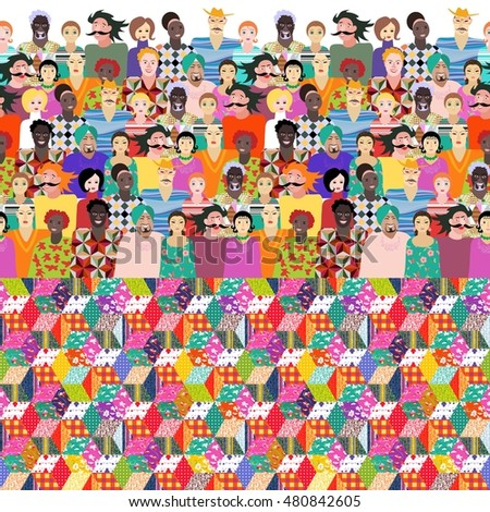 Festival. Colorful endless pattern with people of different ages, races and nationalities and bright quilt. Can be used for wrapping, poster, card, invitation, placard, brochure, flyer, websites - 2.
