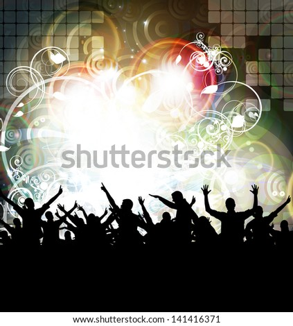 Festival. Crowd of dancing people - stock photo