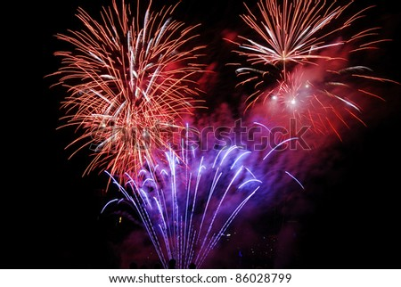 Festival event with colorful fireworks display - stock photo