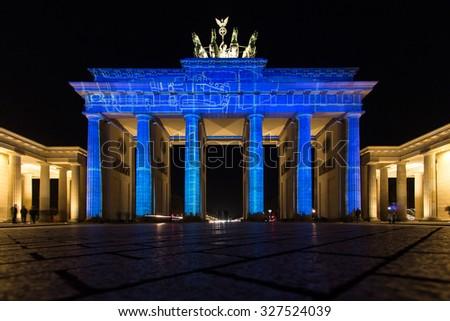 Festival of Lights in Berlin. Illuminated Brandenburg Gate - stock photo
