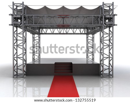 festival open air stage with red carpet for celebrities illustration - stock photo