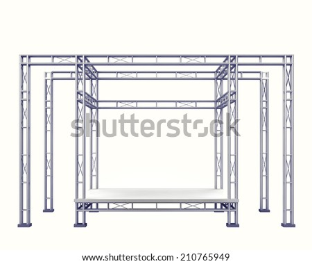 festival stage  steel construction on white isolated illustration - stock photo