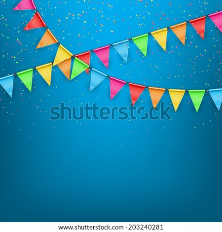Festive background color flags. Festive background with a garland from tags and confetti - stock photo