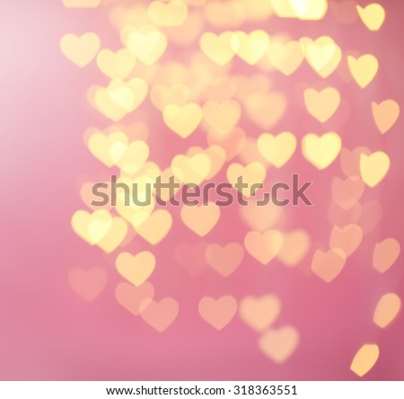 Festive background of lights in hearts shape - stock photo